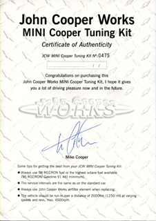 JCW MINI Cooper Tuning Kit Certificate 475