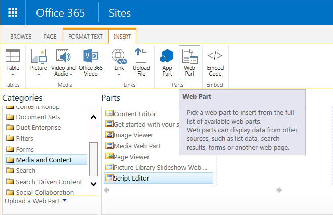 SharePoint Script Editor Web Part