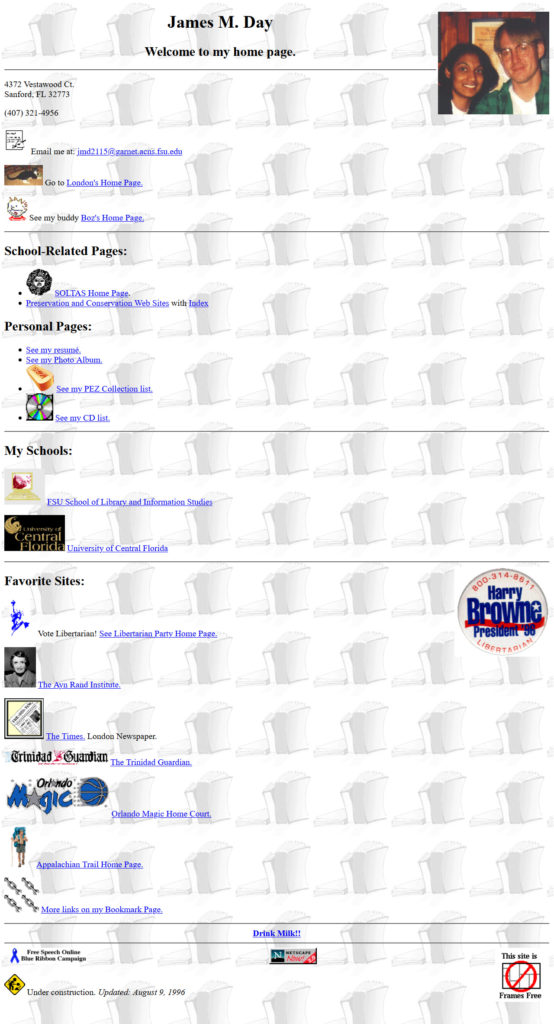 jamesday.net Homepage 8/9/1996
