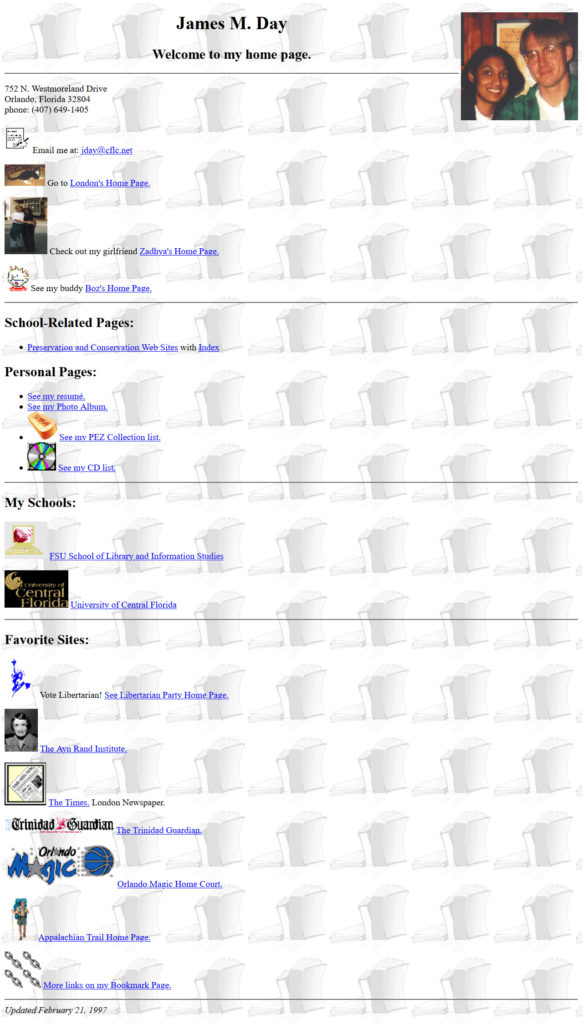 jamesday.net Homepage 2/21/1997