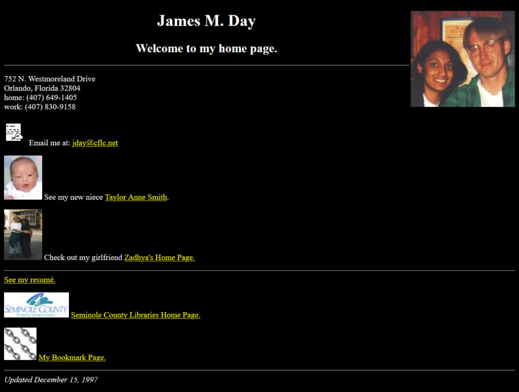 jamesday.net Homepage 12/15/1997