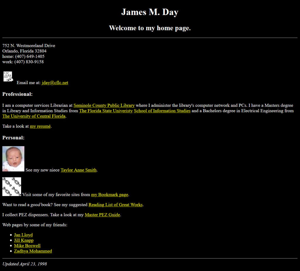 jamesday.net Homepage 4/23/1998