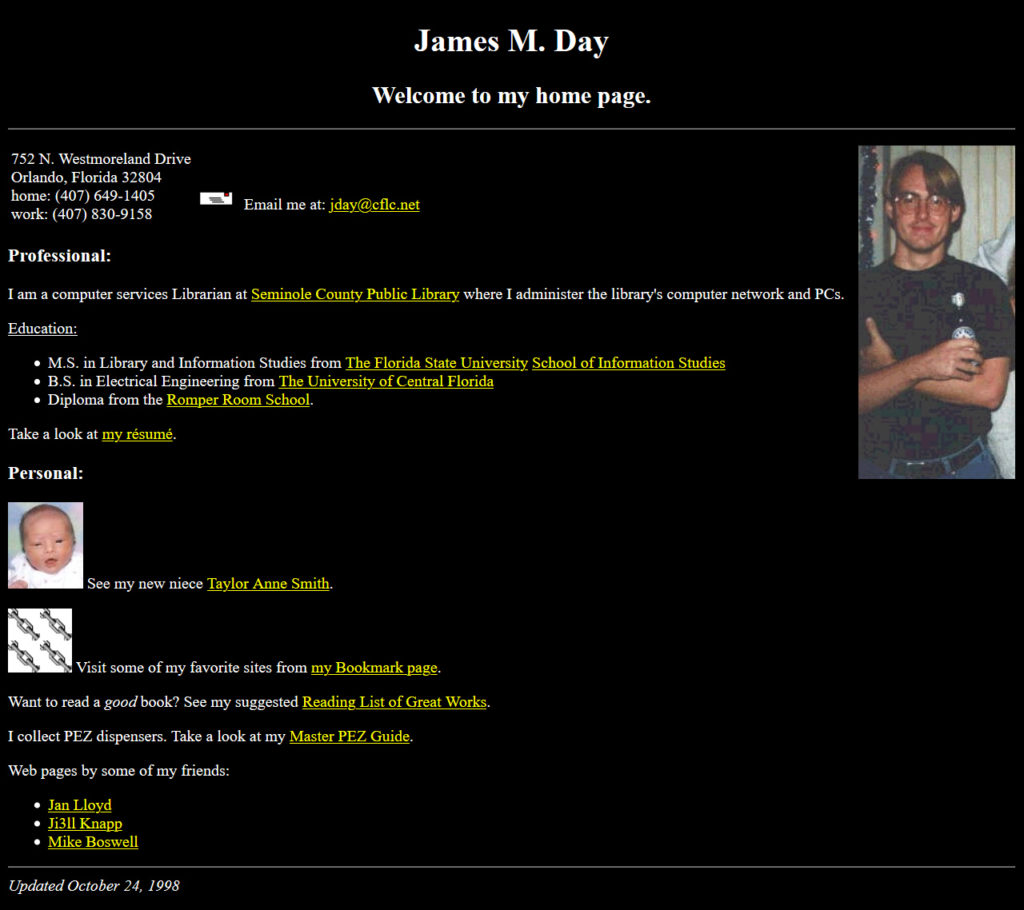jamesday.net Homepage 10/24/1998