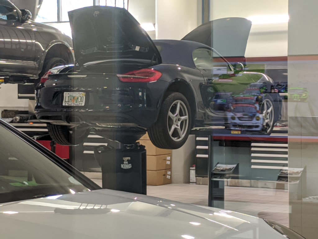 Porsche Boxster on Lift