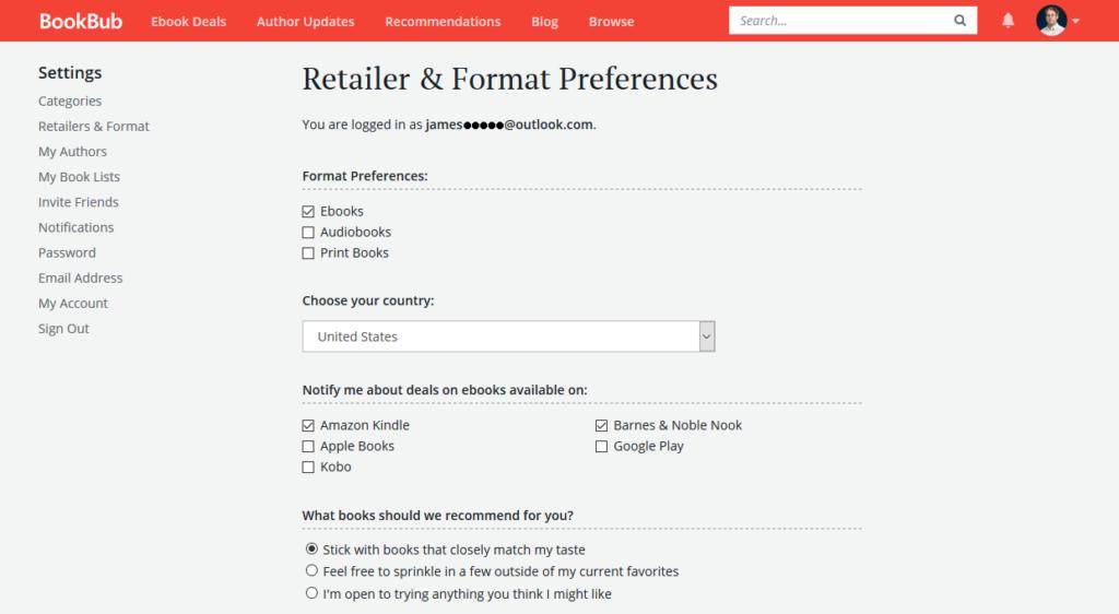 BookBub Retailer & Format Preferences